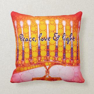"""""""Peace, Love & Light"""" Red Hanukkah Menorah Photo Cushion"""