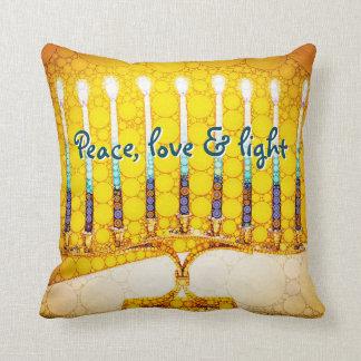 """""""Peace Love & Light"""" Yellow Hanukkah Menorah Photo Cushion"""