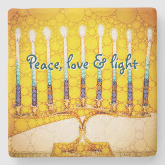 """Peace Love & Light"" Yellow Hanukkah Menorah Photo Stone Coaster"