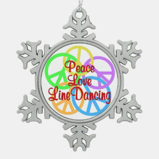 Peace Love Line Dancing Pewter Snowflake Decoration