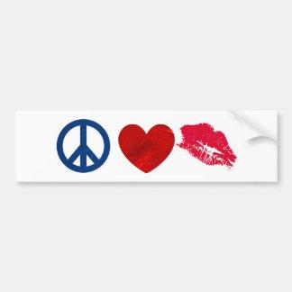 Peace, Love, Lipstick Kiss Bumper Stickers