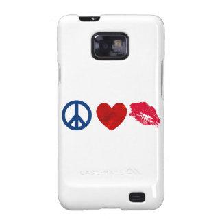 Peace, Love, Lipstick Kiss Samsung Galaxy SII Cases