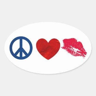 Peace, Love, Lipstick Kiss Stickers