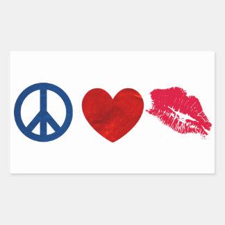 Peace, Love, Lipstick Kiss Sticker