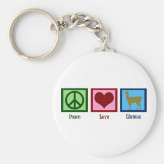 Peace Love Llamas Basic Round Button Key Ring