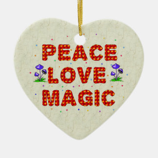 Peace Love Magic Ceramic Heart Decoration