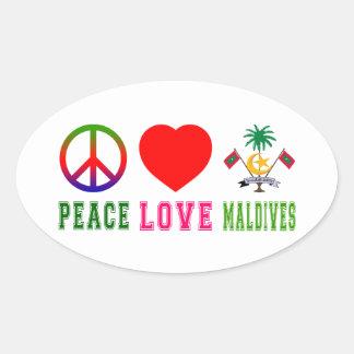 Peace Love Maldives Oval Sticker