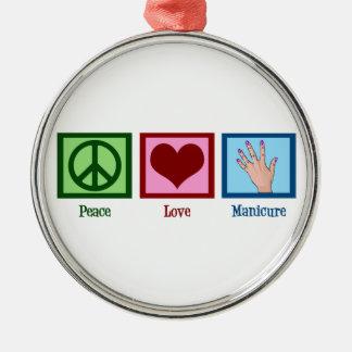 Peace Love Manicure Metal Ornament