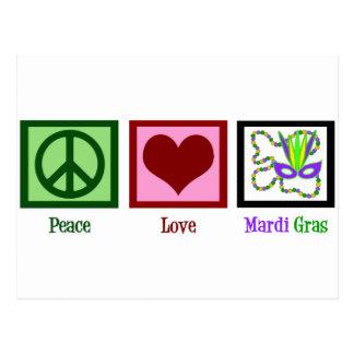 Peace Love Mardi Gras Postcard