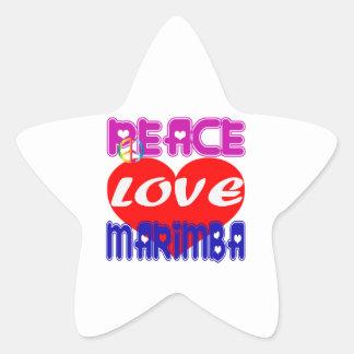 Peace Love Marimba Star Stickers