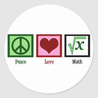 Peace Love Math Classic Round Sticker