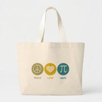 Peace Love Math Jumbo Tote Bag
