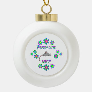 Peace Love Mice Ceramic Ball Decoration