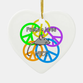 Peace Love Mice Ceramic Heart Decoration