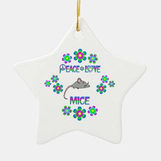 Peace Love Mice Ceramic Star Decoration