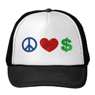 Peace love money hat