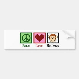 Peace Love Monkeys Bumper Sticker