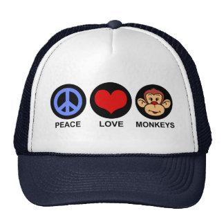 Peace Love Monkeys Trucker Hats