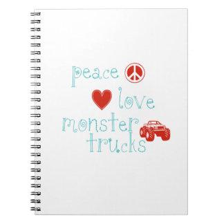 Peace Love Monster Trucks Spiral Notebook
