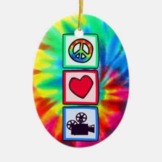 Peace, Love, Movies Ceramic Oval Decoration