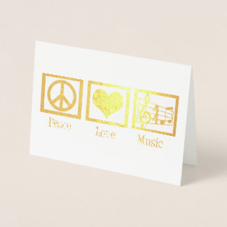 Peace Love Music Classy Gold Foil Foil Card