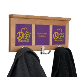 Peace Love Music custom coat rack