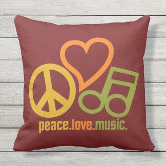 Peace-Love-Music custom color throw pillow