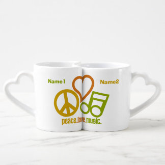 Peace Love Music custom couple's mugs Lovers Mug Sets