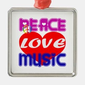 Peace Love Music Christmas Tree Ornaments