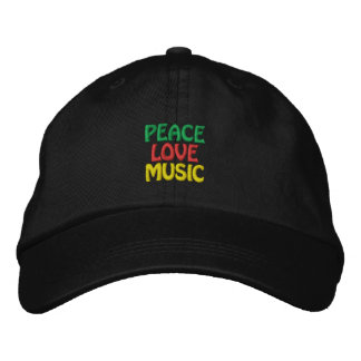 Peace Love Music Green Red Gold Embroidered Hat