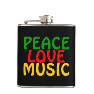 Peace Love Music Green Red Gold Flasks