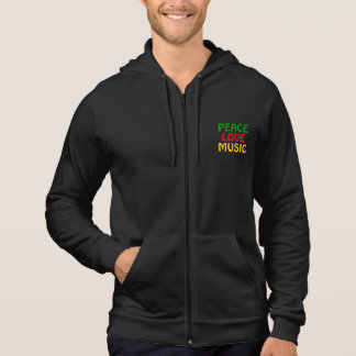 Peace Love Music Green Red Gold Hoodie