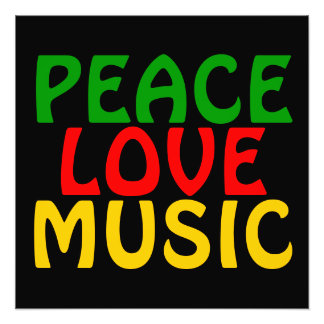 Peace Love Music Green Red Gold Photograph