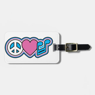 PEACE LOVE MUSIC LUGGAGE TAG