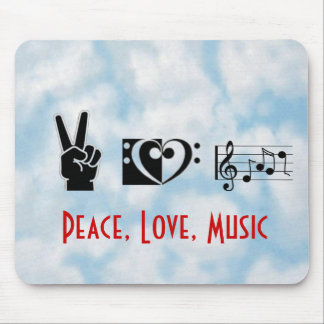Peace, Love, Music Mouse Pad