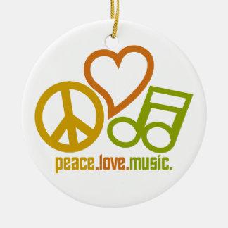 Peace Love Music ornament, customizable Ceramic Ornament