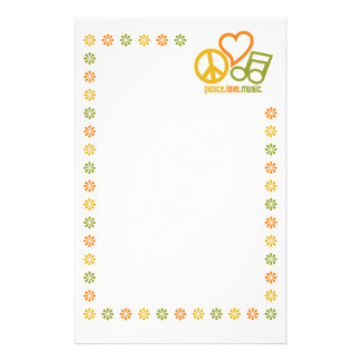 Peace Love Music stationary, customize Stationery Design