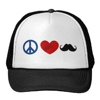Peace, Love, Mustache Cap