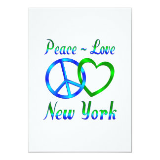 Peace Love New York 13 Cm X 18 Cm Invitation Card
