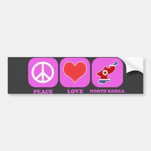 Peace Love North Korea Bumper Sticker