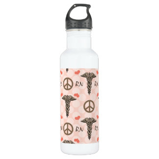Peace Love Nurse Caduceus RN BPA Free 710 Ml Water Bottle
