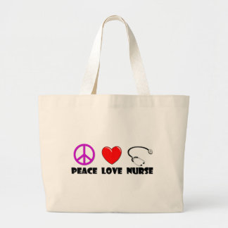 Peace Love Nurse Jumbo Tote Bag