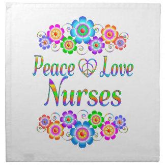 Peace Love Nurses Flowers Napkin
