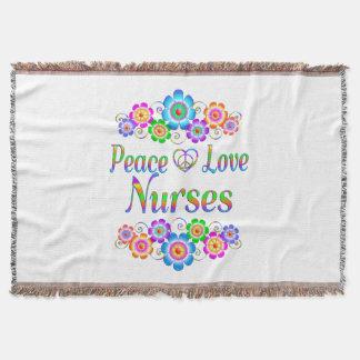 Peace Love Nurses Flowers Throw Blanket