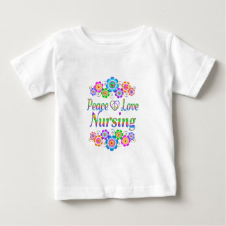 Peace Love Nursing Flowers Baby T-Shirt