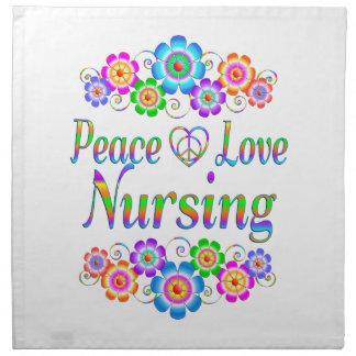 Peace Love Nursing Flowers Napkin