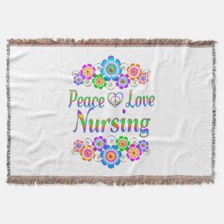 Peace Love Nursing Flowers Throw Blanket