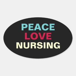 Peace Love Nursing Oval Sticker