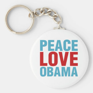 Peace Love Obama Basic Round Button Key Ring