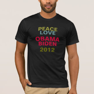 Peace Love Obama Biden 2012 Fitted T-Shirt (Dark)